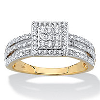 1/4 TCW Diamond Solid 10k Yellow Gold Squared Cluster Triple-Row Ring