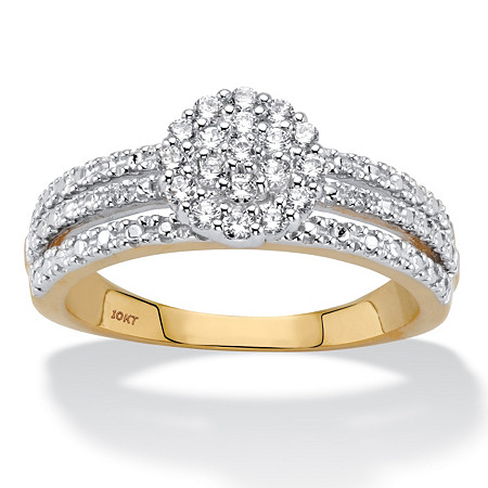 1/3 TCW Round Diamond Solid 10k Yellow Gold Cluster Triple-Row Ring at PalmBeach Jewelry