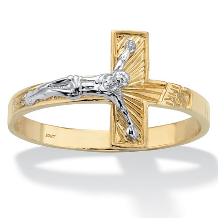 Two-Tone Textured Solid 10k Yellow and White Gold Horizontal Crucifix Ring at PalmBeach Jewelry