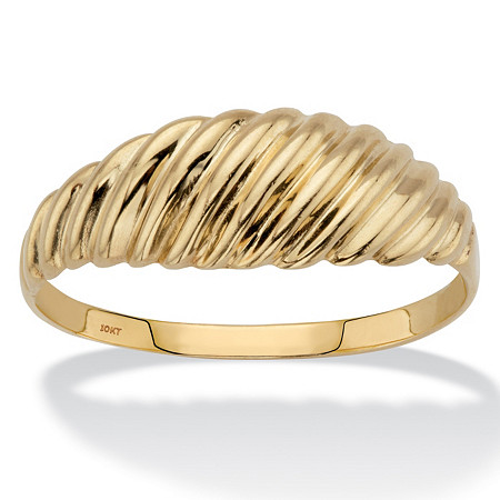 Polished Shrimp-Style Ring in Solid 10k Yellow Gold at PalmBeach Jewelry