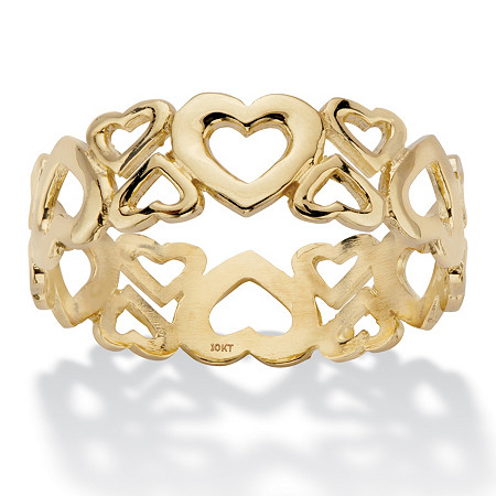 Cutout Heart Solid 10k Yellow Gold Eternity Ring at PalmBeach Jewelry