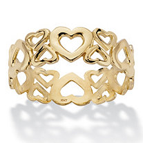 Cutout Heart Solid 10k Yellow Gold Eternity Ring
