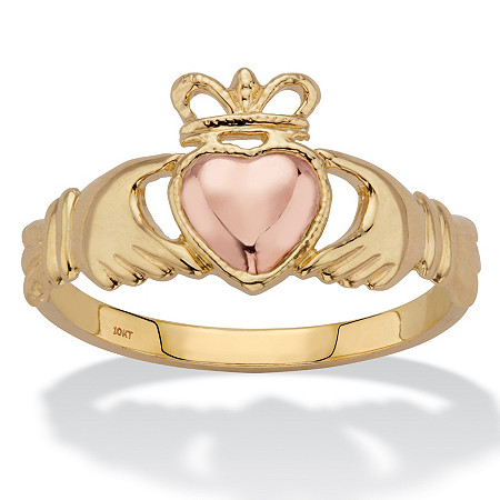 Two-Tone Solid 10k Yellow and Rose Gold Claddagh Ring at PalmBeach Jewelry