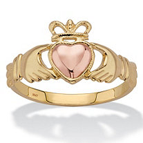 Two-Tone Solid 10k Yellow and Rose Gold Claddagh Ring