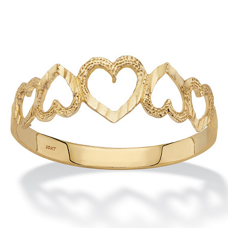 Textured Cutout Heart-Link Ring in Solid 10k Yellow Gold at PalmBeach Jewelry