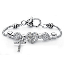 Crystal Beaded Cross and Heart Bali-Style Charm Bracelet in Silvertone 7""