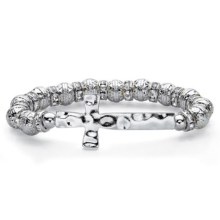 """Hammered Cross Crystal Beaded and Spacer Stretch Bracelet in Silvertone 7"""" at PalmBeach Jewelry"""