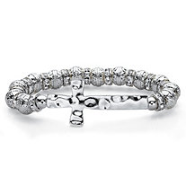 Hammered Cross Crystal Beaded and Spacer Stretch Bracelet in Silvertone 7