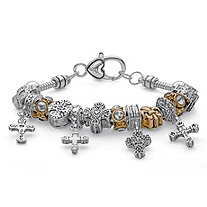 SETA JEWELRY Two-Tone Crystal Gold Tone and Silvertone Bali-Style Beaded Cross Charm Bracelet 7