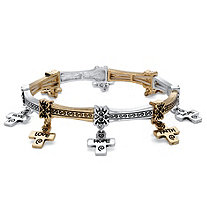 Two-Tone Antiqued Gold Tone and Silvertone Inspirational Messages Cross Charm Inscribed Stretch Bracelet in 7""