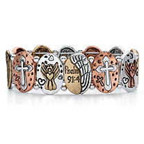 Tri-Tone Hammered Coin Inspirational Inscribed Stretch Bracelet in Rose Tone, Gold Tone and Silvertone 7