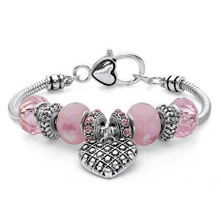 Pink Crystal Beaded Heart Charm Bali-Style Bracelet in Antiqued Silvertone 7