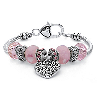 Pink Crystal Beaded Heart Charm Bali-Style Bracelet In Antiqued Silvertone ONLY $12.99