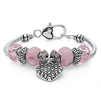 Pink Crystal Beaded Heart Charm Bali-Style Bracelet in Antiqued Silvertone 7""