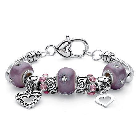 Purple Crystal Heart Charm Bali-Style Floral Beaded Bracelet in Silvertone 7