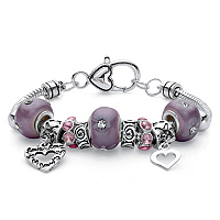 Purple Crystal Heart Charm Bali-Style Floral Beaded Bracelet In Silvertone ONLY $11.25