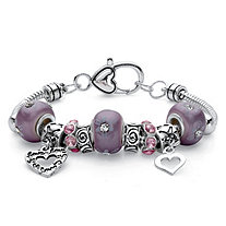 Purple Crystal Heart Charm Bali-Style Floral Beaded Bracelet in Silvertone 7""