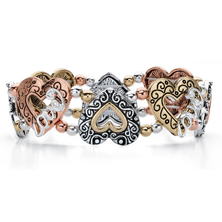 "Cutout Heart and Love Rose Tone, Gold Tone and Silvertone Inscribed Beaded Stretch Bracelet 7"" at PalmBeach Jewelry"