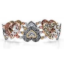 Cutout Heart and Love Rose Tone, Gold Tone and Silvertone Inscribed Beaded Stretch Bracelet 7""