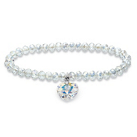 Aurora Borealis Heart Charm Beaded Stretch Bracelet In Silvertone MADE WITH SWAROVSKI ELEMENTS ONLY $14.99