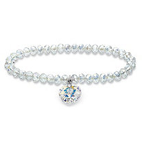 Aurora Borealis Crystal Heart Charm Beaded Stretch Bracelet in Silvertone MADE WITH SWAROVSKI ELEMENTS 7""