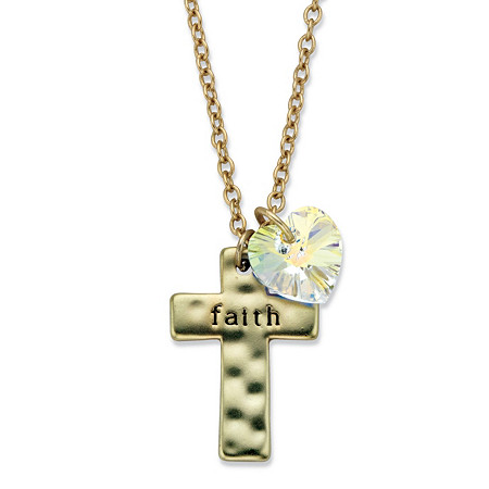"""Hammered Cross """"Faith"""" and Aurora Borealis Crystal Heart Charm Pendant Necklace MADE WITH SWAROVSKI ELEMENTS 18""""-20.5"""" at PalmBeach Jewelry"""