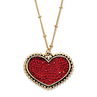 Round Red Crystal Heart Beaded Chain Pendant Necklace In Gold Tone ONLY $12.99