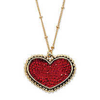 Round Red Crystal Heart Beaded Chain Pendant Necklace in Gold Tone 18