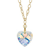 Crystal Heart Pendant Necklace In Gold Tone MADE WITH SWAROVSKI ELEMENTS ONLY $24.99
