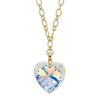 Aurora Borealis Faceted Crystal Heart Pendant Necklace in Gold Tone MADE WITH SWAROVSKI ELEMENTS 28""