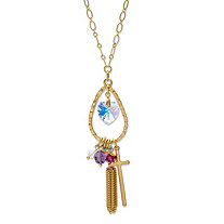 Aurora Borealis and Multi-Color Crystal Beaded Tassel Pendant Necklace in Gold Tone MADE WITH SWAROVSKI ELEMENTS 28""