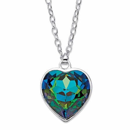 "Aurora Borealis Faceted Crystal Silvertone Heart Pendant Necklace MADE WITH SWAROVSKI ELEMENTS 18""-19"" at PalmBeach Jewelry"