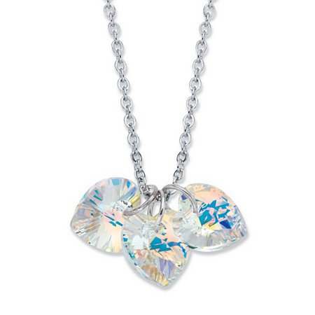 "Aurora Borealis Faceted Crystal Silvertone Heart Charm Necklace MADE WITH SWAROVSKI ELEMENTS 18""-19.5"" at PalmBeach Jewelry"