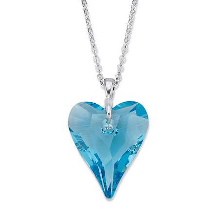 "Faceted Blue Crystal  Heart Pendant Necklace MADE WITH SWAROVSKI ELEMENTS in Silvertone 18""-19"" at PalmBeach Jewelry"