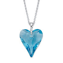 Faceted Blue Crystal Heart Pendant Necklace in Silvertone 18