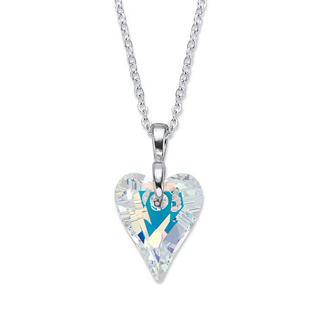 "Aurora Borealis Faceted Crystal Heart Pendant Necklace in Silvertone MADE WITH SWAROVSKI ELEMENTS 18""-19"" at PalmBeach Jewelry"