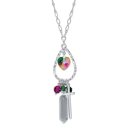 "Aurora Borealis and Multi-Color Crystal Beaded Tassel Pendant Necklace in Silvertone MADE WITH SWAROVSKI ELEMENTS 28"" at PalmBeach Jewelry"