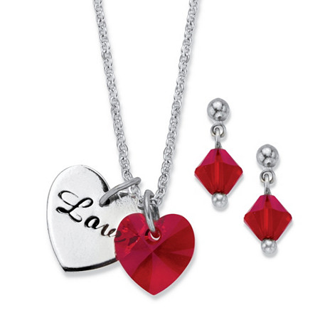 "Red Crystal Beaded 2-Piece Drop Earring and Inscribed Heart Silvertone Necklace Set MADE WITH SWAROVSKI ELEMENTS 18""-19.5"" at PalmBeach Jewelry"
