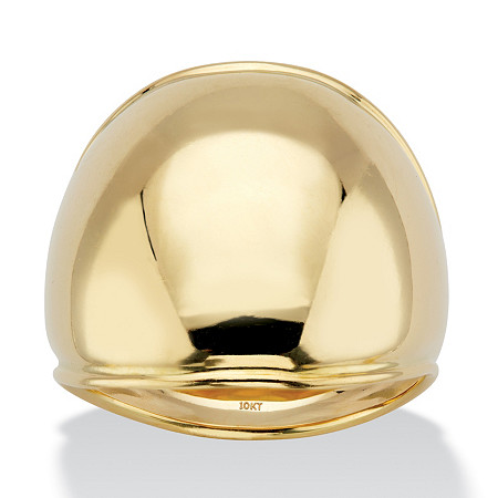 Polished Solid 10k Yellow Gold Dome Ring at PalmBeach Jewelry