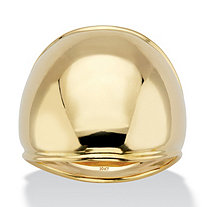 SETA JEWELRY Polished Solid 10k Yellow Gold Dome Ring