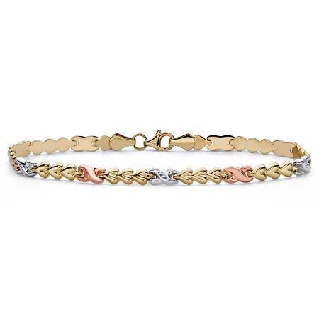 "Tri-Tone 10k White, Yellow and Rose Gold Infinity Heart-Link Bracelet 7.25"" at PalmBeach Jewelry"