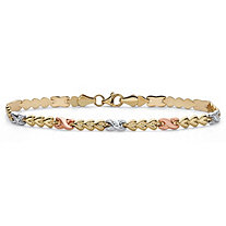 Tri-Tone 10k White, Yellow and Rose Gold Infinity Heart-Link Bracelet 7.25