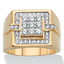 Men's Round Cubic Zirconia Grid Ring 1 TCW 14k Gold-Plated
