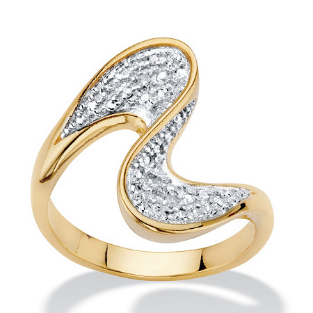 Diamond Accent 14k Gold-Plated Freeform Bypass Ring at PalmBeach Jewelry