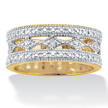 Diamond Accent 14k Gold-Plated Cutout Eternity Ring at PalmBeach Jewelry