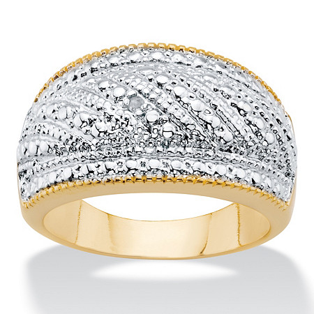 Round Diamond Accent Two-Tone Gold-Plated Stippled Dome Ring at PalmBeach Jewelry