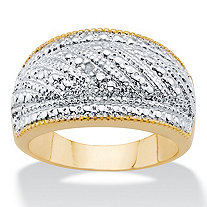 SETA JEWELRY Round Diamond Accent Two-Tone 14k Gold-Plated Stippled Dome Ring