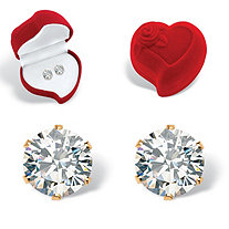 Round Cubic Zirconia Stud Earrings 1.96 TCW in Gold Tone With Free Red Heart Gift Box