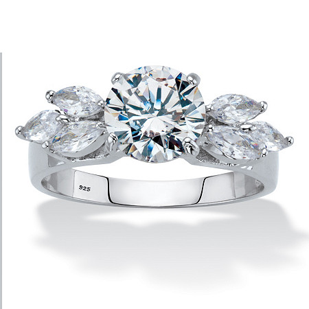 2.90 TCW Round and Marquise-Cut Cubic Zirconia Platinum over Sterling Silver Engagement Ring at PalmBeach Jewelry