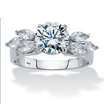 2.90 TCW Round and Marquise-Cut Cubic Zirconia Platinum over Sterling Silver Engagement Ring